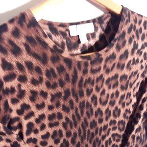 Michael Kors Leopard Print Long Sleeve Blouse Sz L